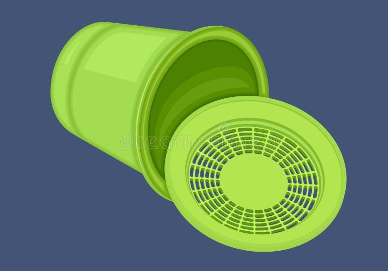 Vector plano isométrico de la papelera de reciclaje ilustración del vector