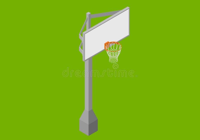 Vector plano isométrico del tablero trasero de baloncesto ilustración del vector