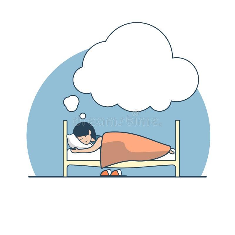 Vector plano linear de la cama del dreame del sueño de la muchacha ilustración del vector