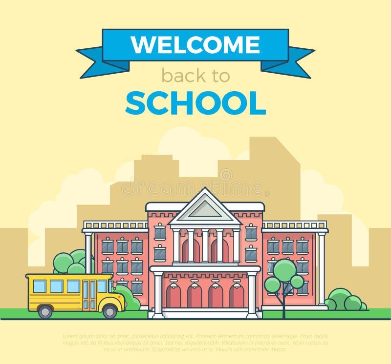 Vector plano linear de la fachada del autobús escolar y del edificio stock de ilustración