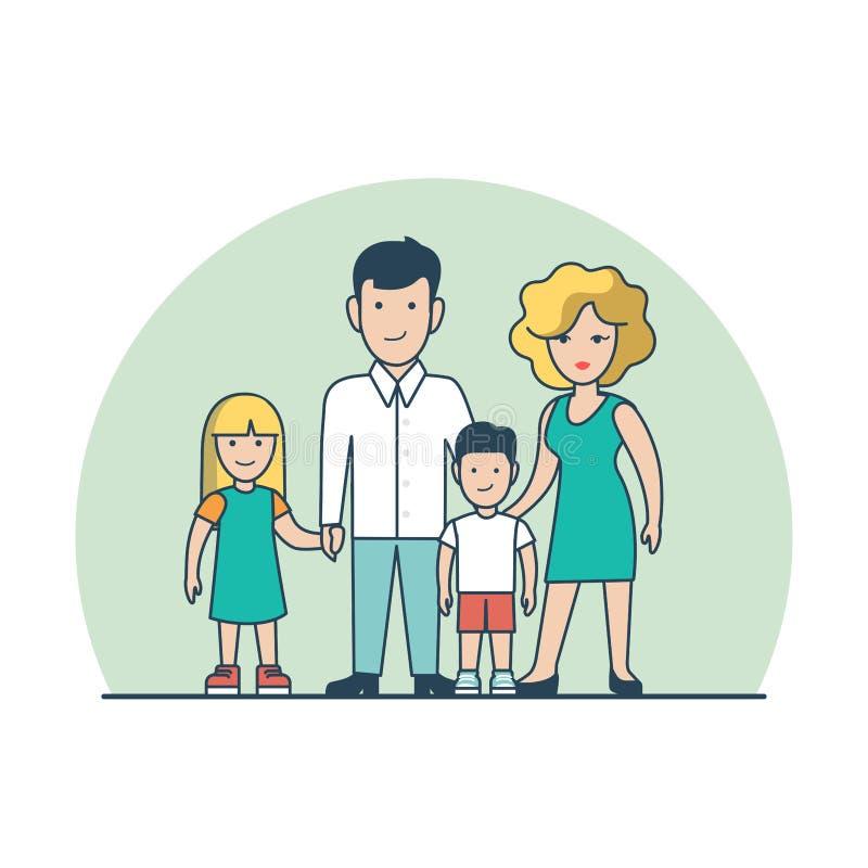 Vector plano linear de los niños de la pareja Fami del Parenting ilustración del vector