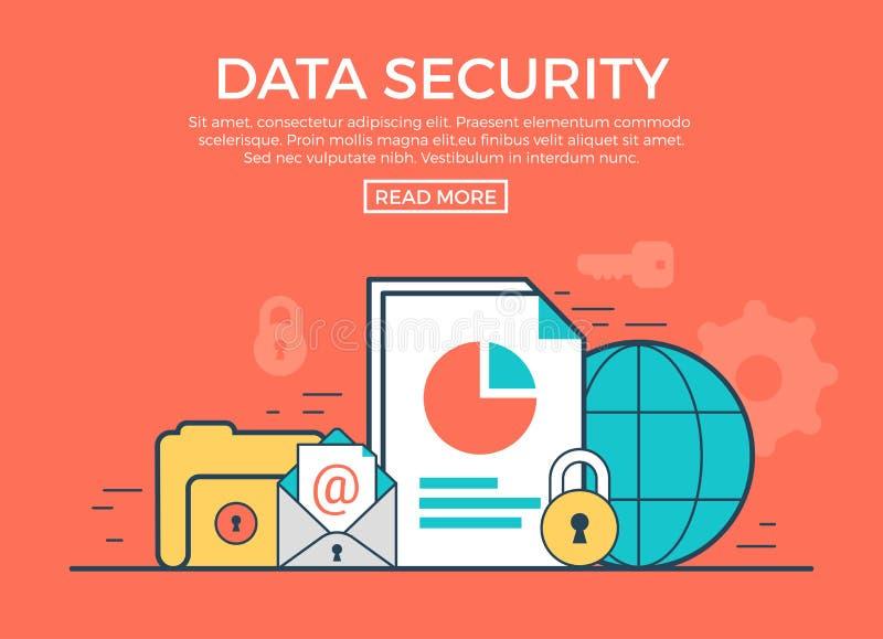 Vector plano linear del infographics de la seguridad de datos app ilustración del vector