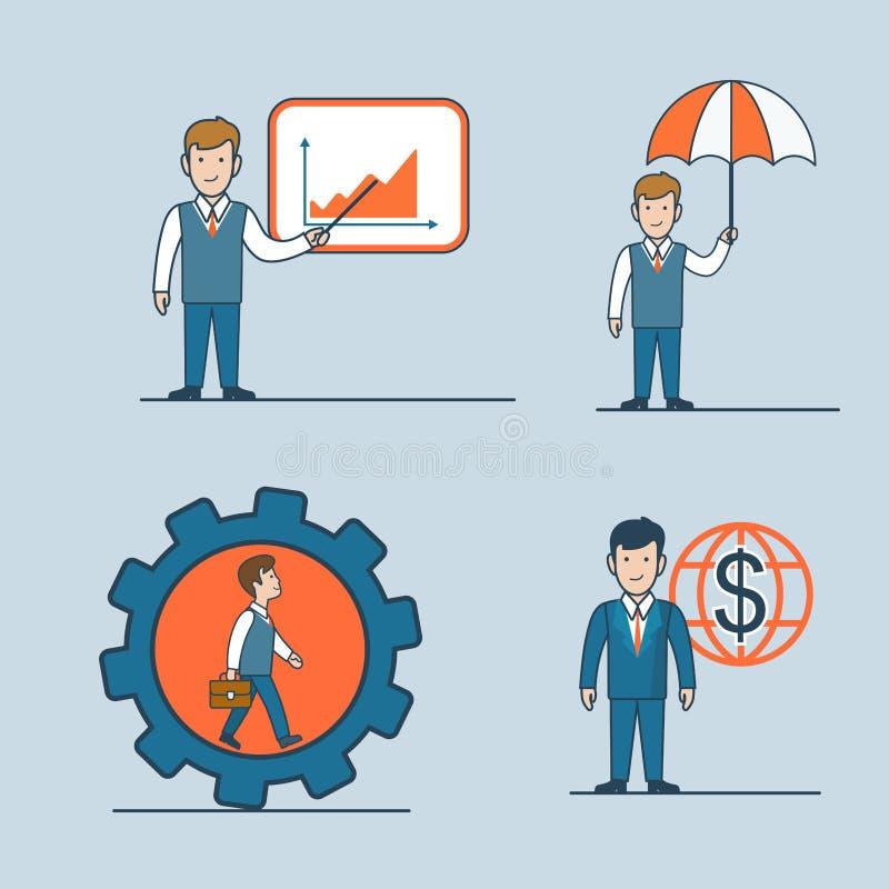 Vector plano linear i del icono del concepto del hombre de negocios del arte ilustración del vector