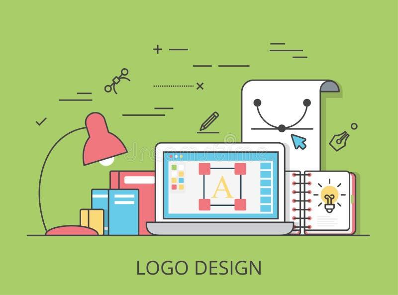 Vector plano linear IL del sitio web de la identidad del diseño del logotipo ilustración del vector