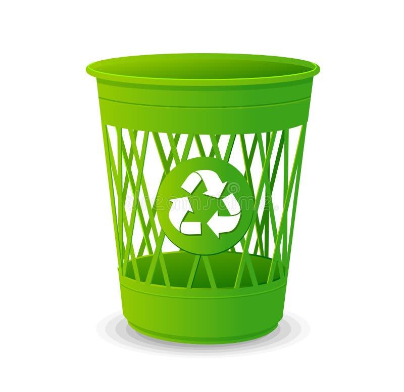 Vector plastic basket set, trash bins on white stock illustration