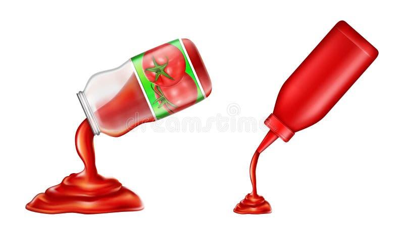 Vector plastic fles, glaskruik van ketchup in 3d realistische stijl Tomatenspecerij, vloeibare saus stock illustratie