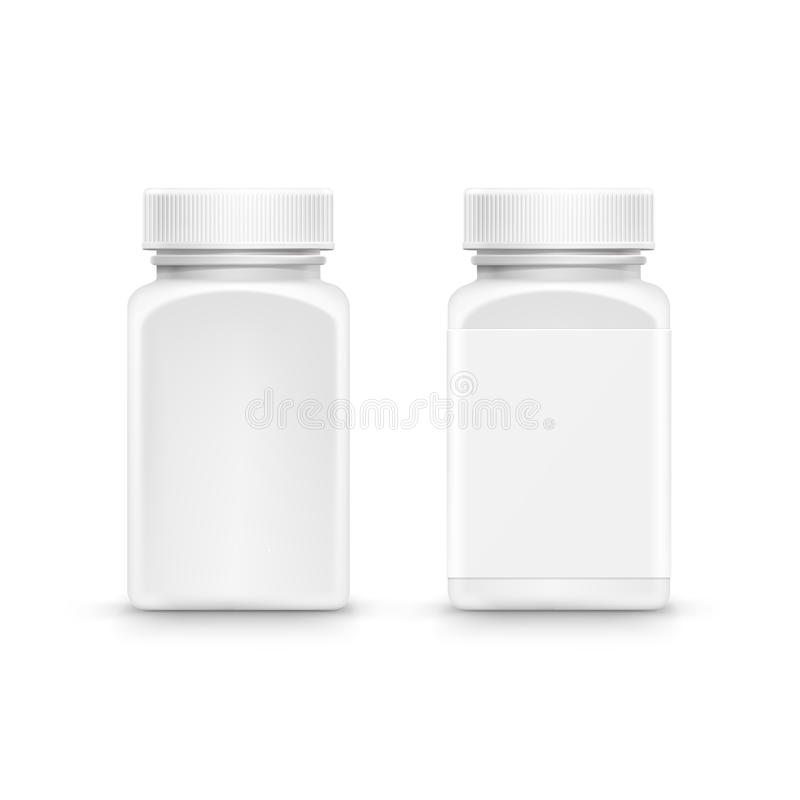 Vector Plastic Packaging Bottle with Cap for Pills vector illustration