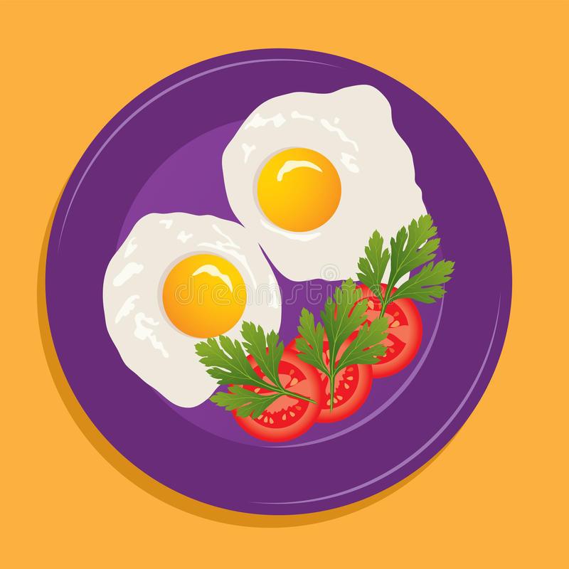 vector plate with fried eggs vector illustration