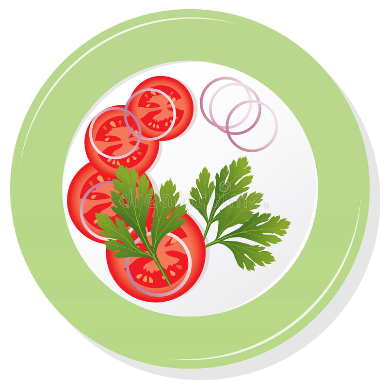 Download Vector plate with tomatoes stock vector. Image of onion - 28991303