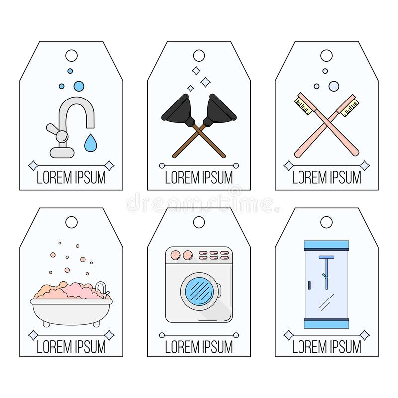 Plumbing Labels Icons Set Stock Vector. Illustration Of