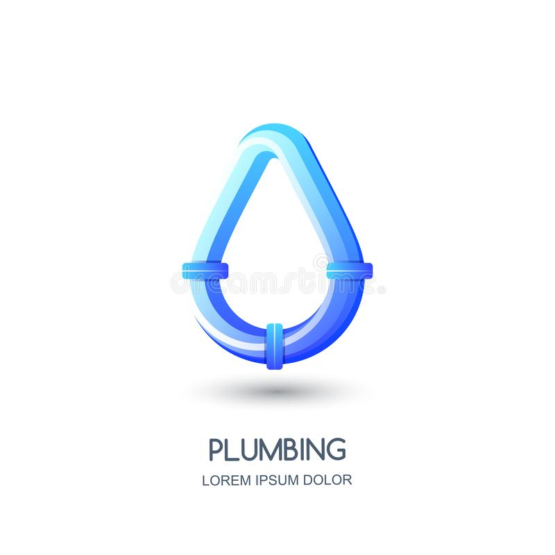Vector plumbing logo, icon, emblem design template. Blue pipe in water drop shape. Concept for pipelaying repair service royalty free illustration