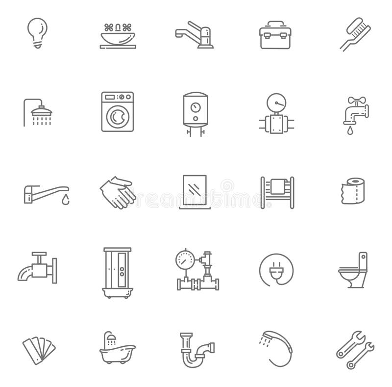 Vector plumbing outline icons set vector illustration