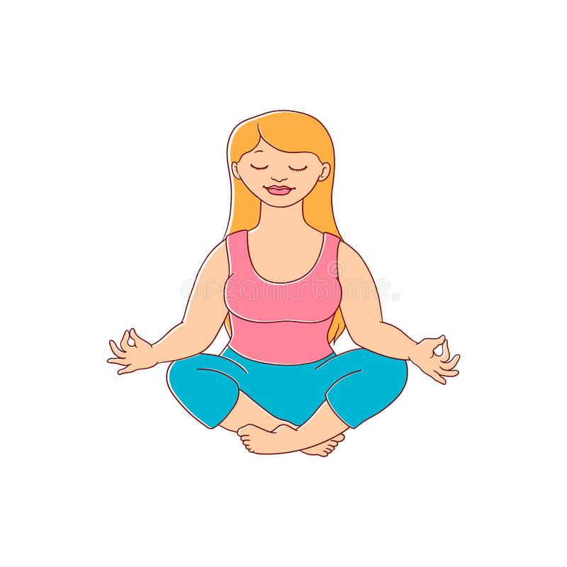 Vector plump obese woman meditate vector illustration