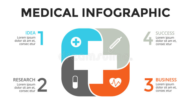 Vector plus infographic, medisch diagram, gezondheidszorggrafiek, het ziekenhuispresentatie, noodsituatiegrafiek Geneeskunde arts royalty-vrije illustratie