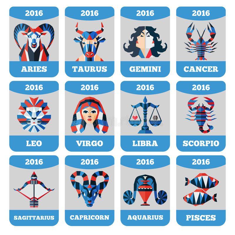 Vector pocket calendar with flat zodiac signs, horoccope, astrology. royalty free illustration