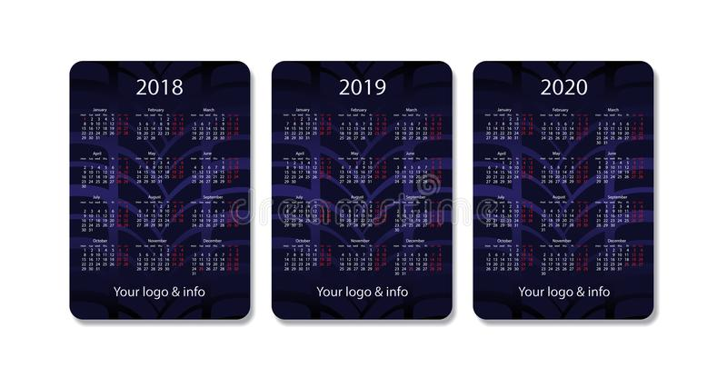 Vector pocket calendar set. 2018, 2019 and 2020 years. Blue design template. vector illustration