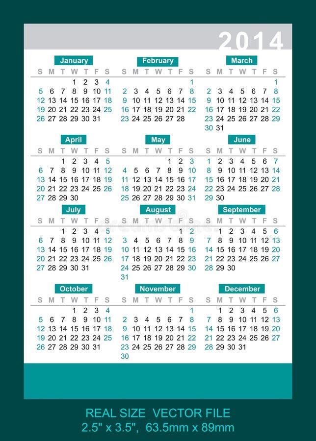 Vector pocket calendar 2014, start on Sunday royalty free illustration