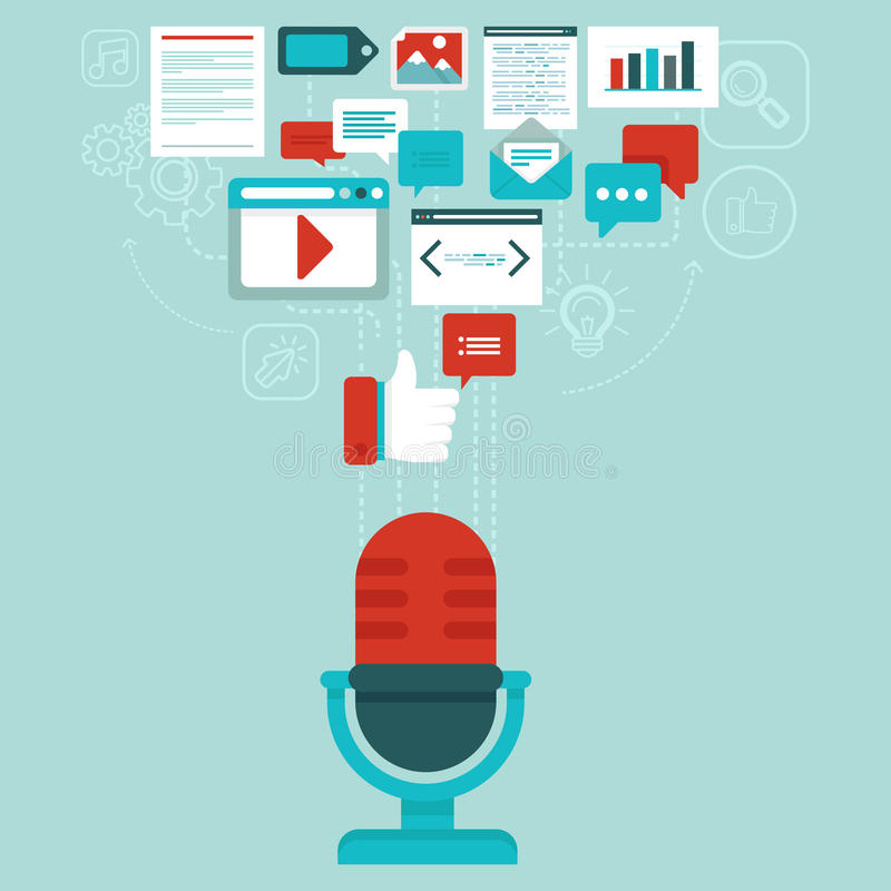 Vector podcast concept in flat style royalty free illustration