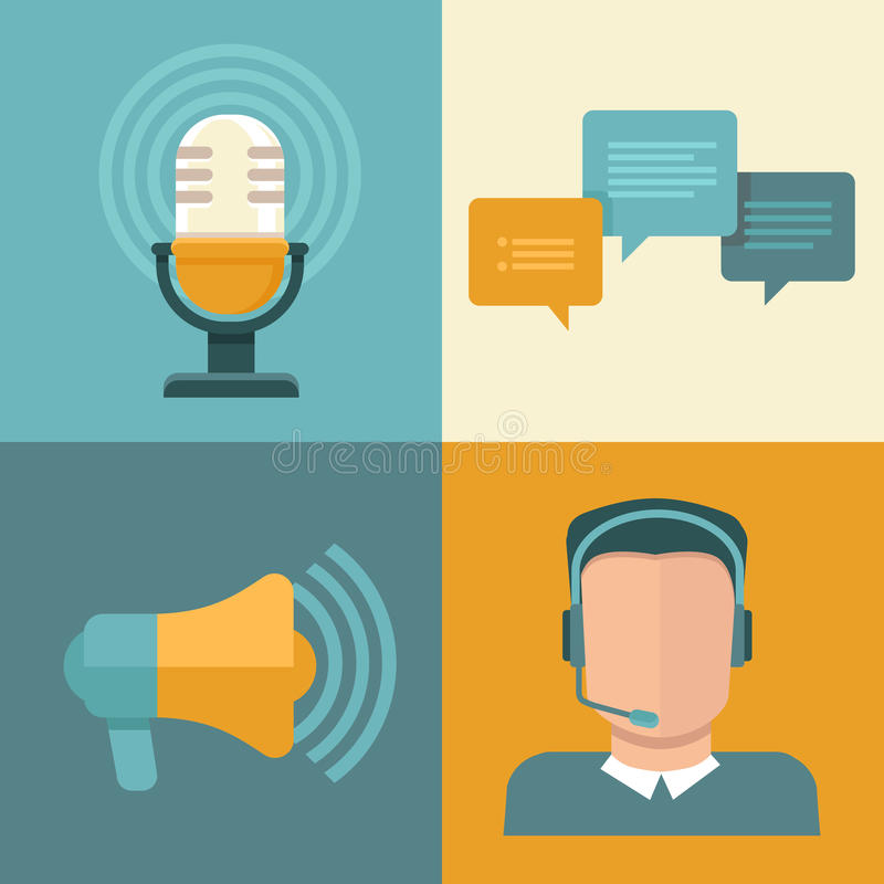 Vector podcast concepts in flat style vector illustration