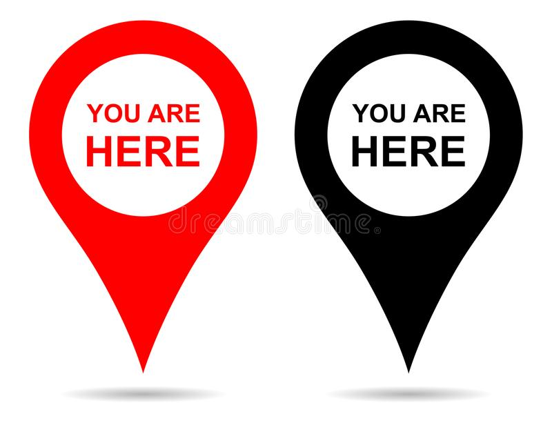 Vector pointer map pin navigation. you are here sign. Simple illustration of vector pointer map pin navigation. you are here sign on white background stock illustration