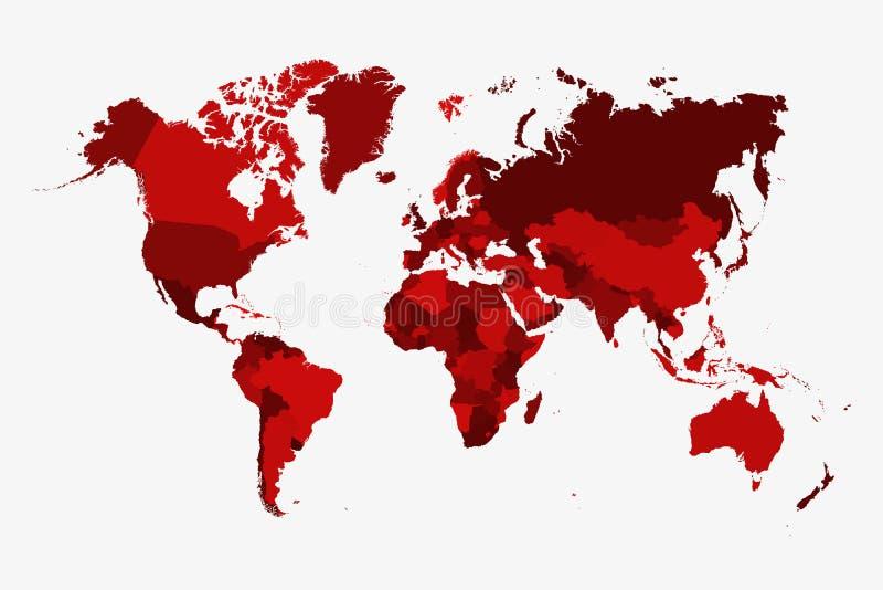 Vector político similar del mapa del mundo, aislado en el fondo blanco Globo plano de la tierra Baclgro de Worldmap libre illustration