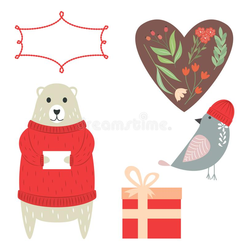 Greeting card elements. Vector elements for greeting card. stock illustration