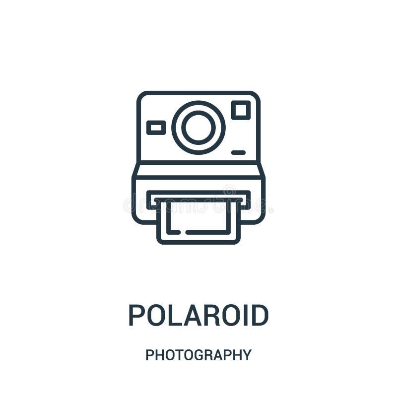 vector polaroid del icono de la colección de la fotografía Línea fina ejemplo polaroid del vector del icono del esquema ilustración del vector