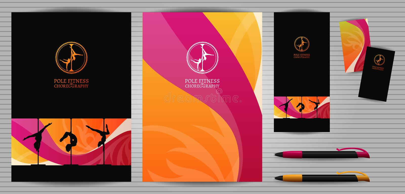 Vector Pole Dance and Aerial Sports School Corporate Identity and Stationery Templates Set. Document, Book. Vector Yellow and Pink Pole Dance and Aerial Sports vector illustration