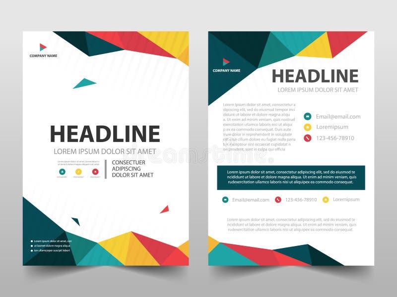 Vector poligonal colorido de la plantilla del diseño del folleto del informe anual Cartel de la revista de los aviadores del nego stock de ilustración