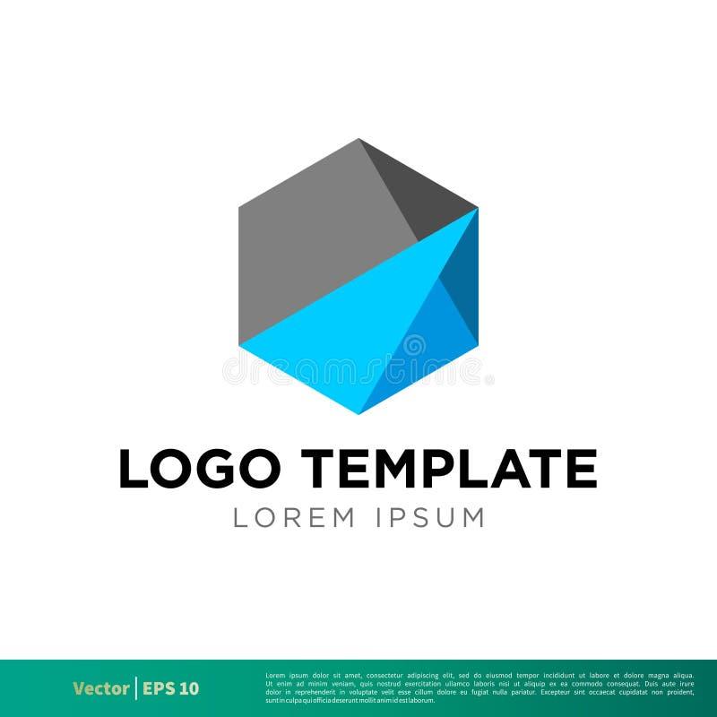 Vector poligonal Logo Template Illustration Design del icono del hexágono Vector EPS 10 stock de ilustración