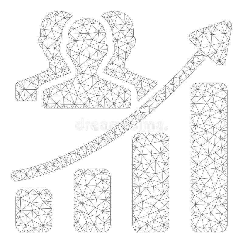 Vector poligonal Mesh Illustration del marco de la carta de crecimiento de la audiencia stock de ilustración