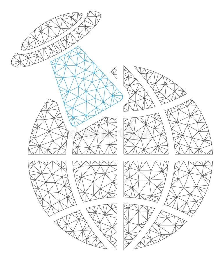 Vector poligonal Mesh Illustration del marco del planeta extranjero de la visita stock de ilustración