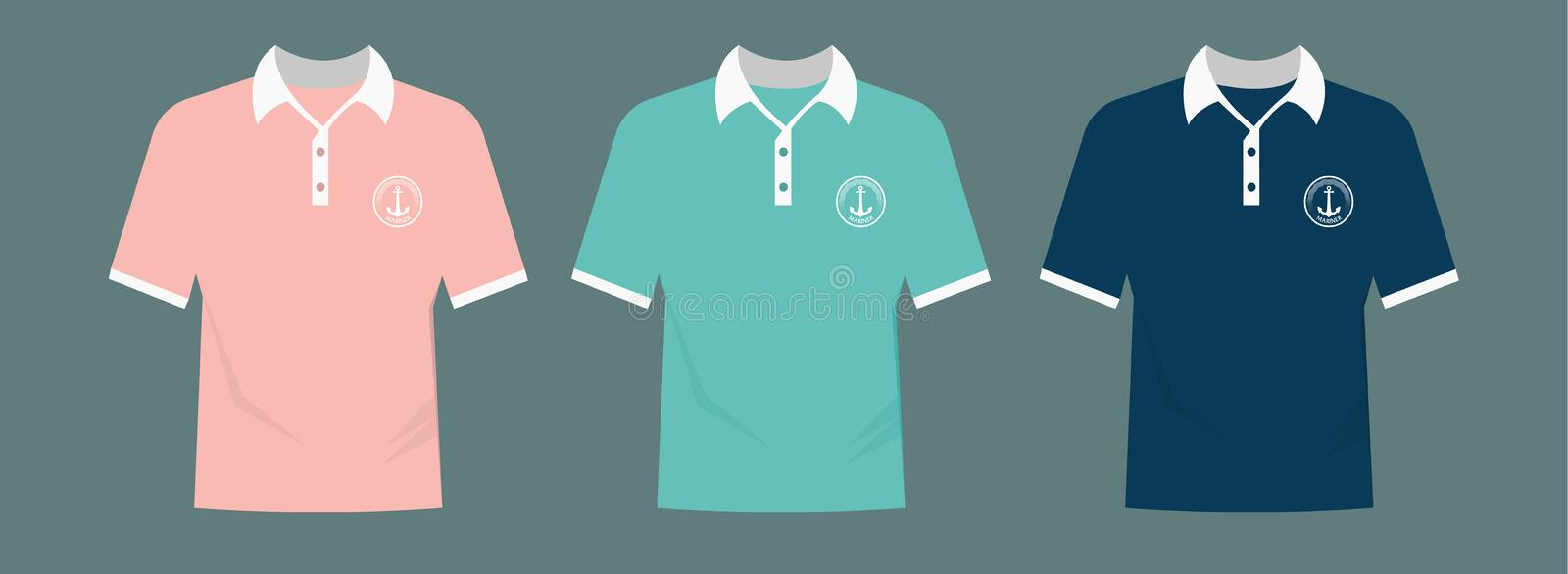 Vector polo set with logo royalty free illustration