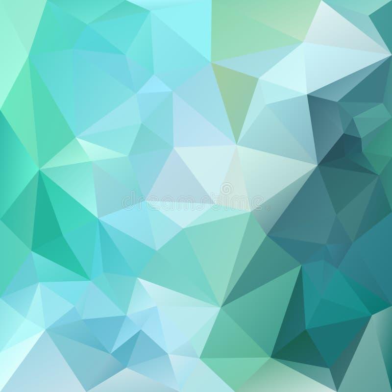 Vector polygon background with irregular tessellations pattern - triangular design. In green colors - emerald, agate, aventurine, saphire stock illustration