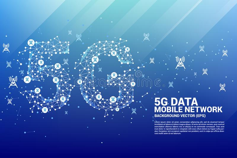 Vector Polygon dot connect line shaped 5G mobile network with antenna tower icon. Concept for telecom technology vector illustration