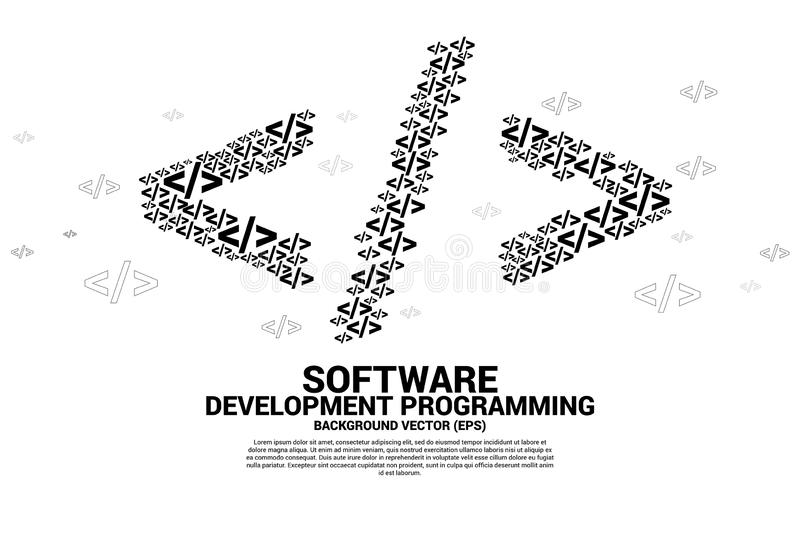 Vector Polygon software development programming multiple tag icons shaped big tag symbol. Concept for Programming language. Technology and coding vector illustration