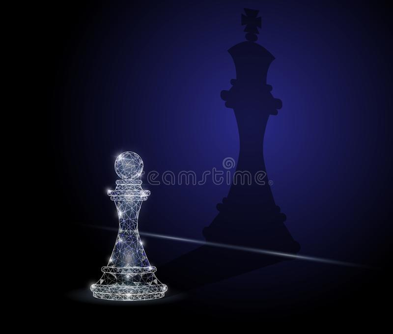Ambition concept vector geometric polygonal art background. Vector polygonal art style chess pawn with chess king shadow. Low poly wireframe mesh with scattered vector illustration