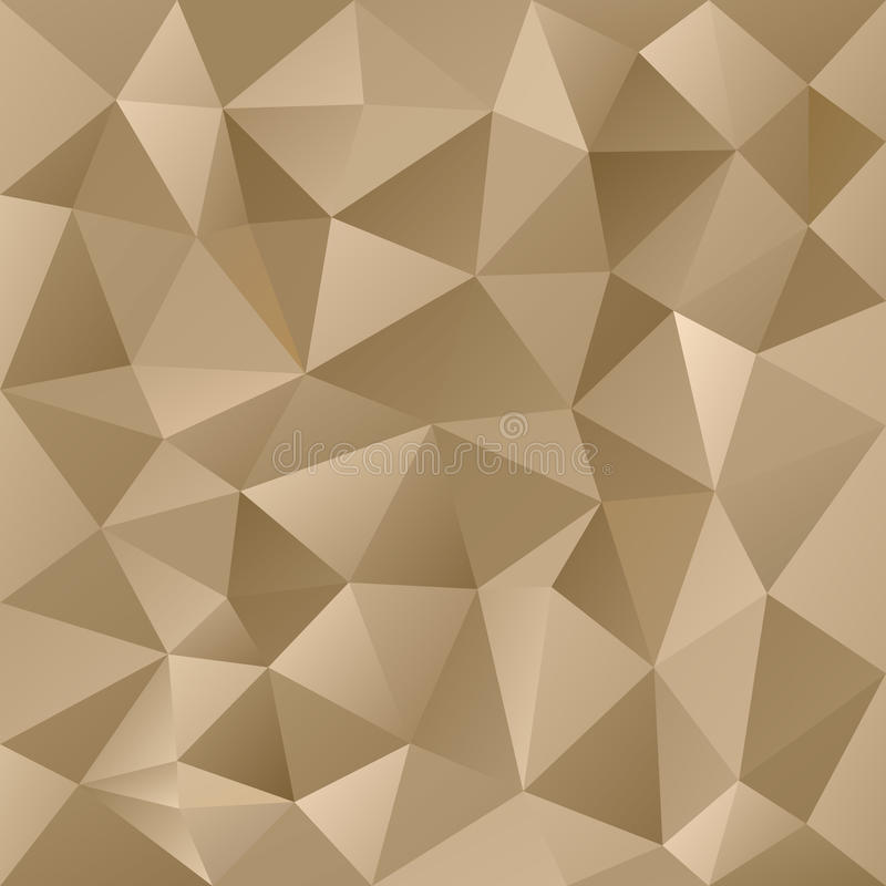 Vector polygonal background triangular design gold metal colors - beige. Vector polygonal background with irregular tessellations pattern - triangular design royalty free illustration