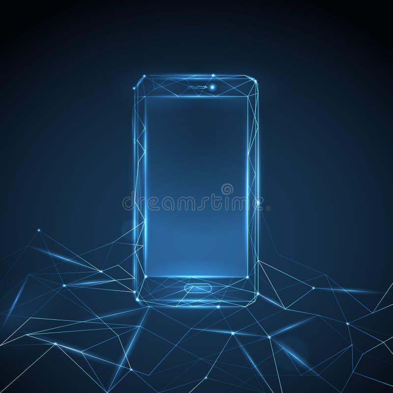 Vector polygonal blue shining wireframe smartphone on dark blue background.  stock illustration