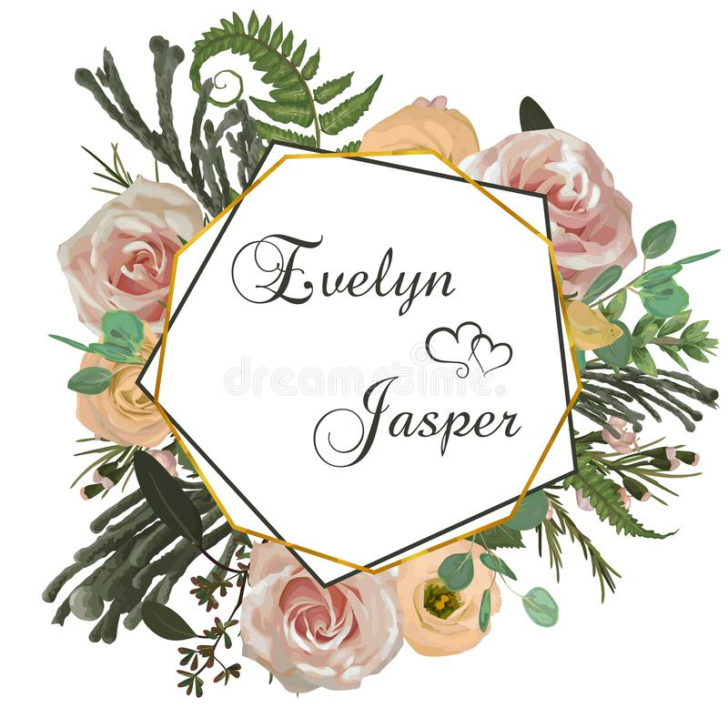 Vector polygonal gold frame. Pink rose flowers, eustoma cream, brunia, green fern, eucalyptus, branches buxuss on a white. Background. Suitable for wedding stock illustration