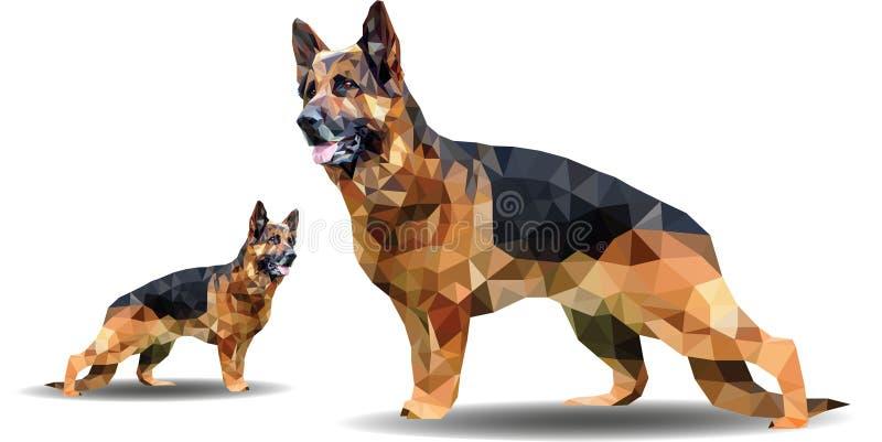 Vector polygonal illustration of animal.Origami style outline geometric german shepherd. Dog polygon vector - Images vectorielles stock illustration