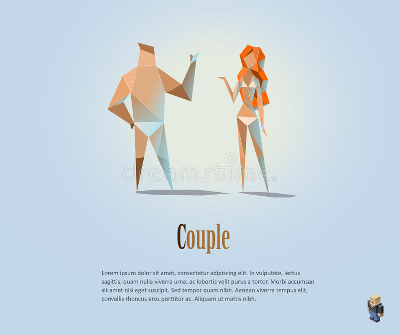 Vector polygonal illustration of couple, naked people, modern low poly object, man and woman, girl, boy, origami style. Human vector illustration