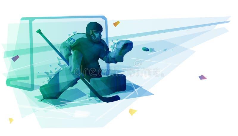 Ice hockey goaltender catching the puck vector illustration