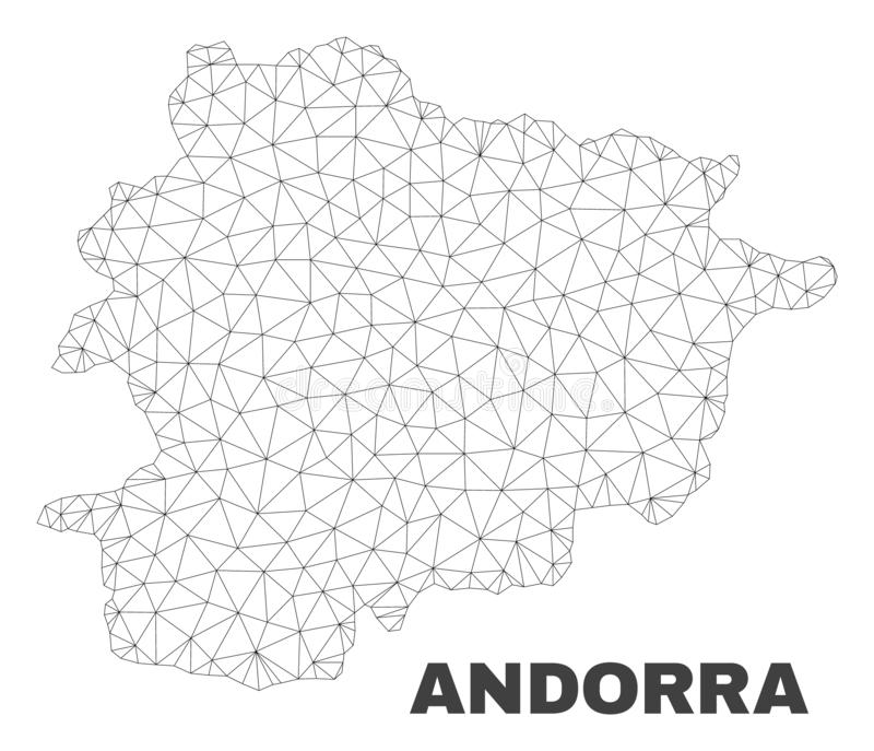Vector Polygonal Mesh Andorra Map. Abstract Andorra map isolated on a white background. Triangular mesh model in black color of Andorra map. Polygonal geographic stock illustration
