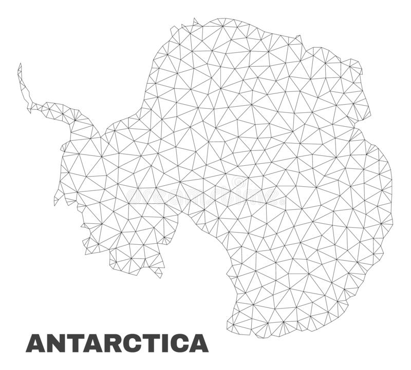 Vector Polygonal Mesh Antarctica Continent Map. Abstract Antarctica continent map isolated on a white background. Triangular mesh model in black color of royalty free illustration