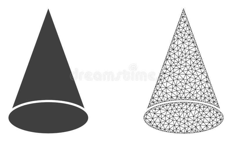 Vector Polygonal Mesh Cone Figure and Flat Icon. Polygonal mesh cone figure and flat icon are isolated on a white background. Abstract black mesh lines vector illustration