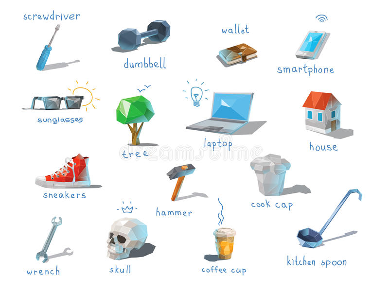 Vector polygonal set of different subjects, work end home devices. Vector polygonal set of different subjects, work end home devices, communications icons, low vector illustration