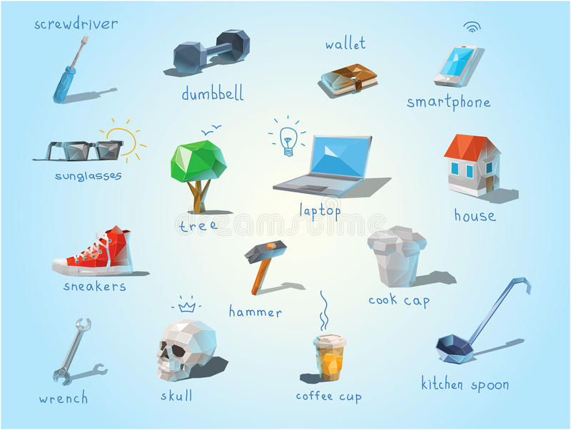 Vector polygonal set of different subjects, work end home devices. Vector polygonal set of different subjects, work end home devices, communications icons, low stock illustration