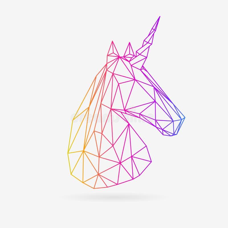 Vector polygonal unicorn illustration. stock illustration