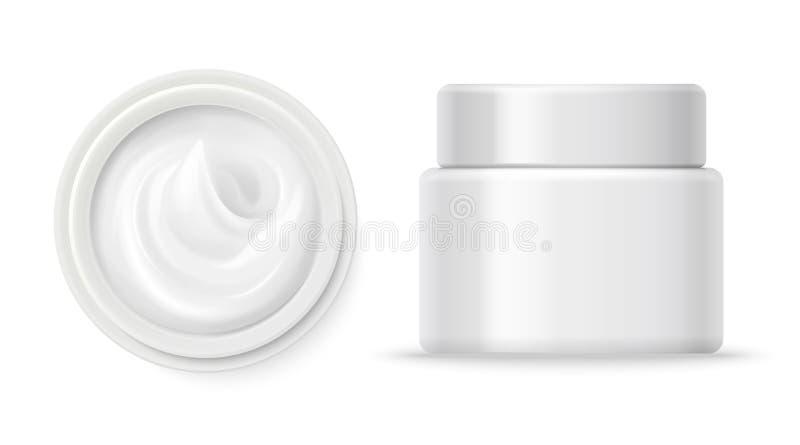 Vector poner crema cosmético de los envases Top poner crema del envase y vista delantera aislados en el fondo blanco libre illustration